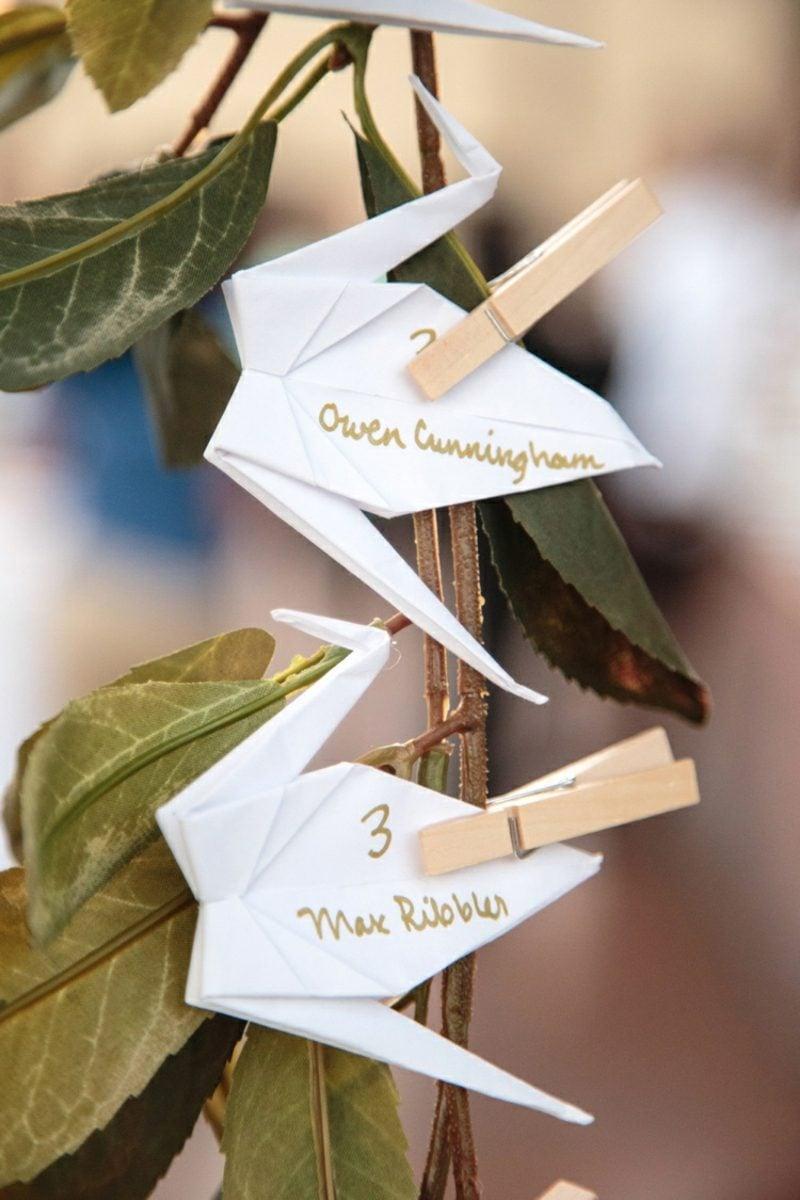 Bastelideen für Erwachsene Vogel Origami Namensschild Hochzeit