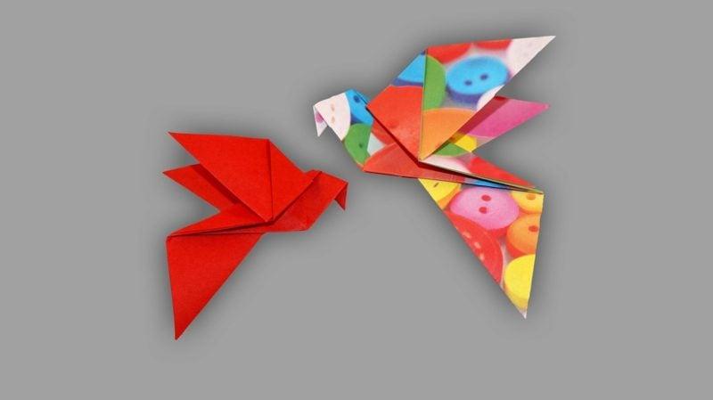 Bastelideen für Erwachsene Origami Vogel Anleitungen