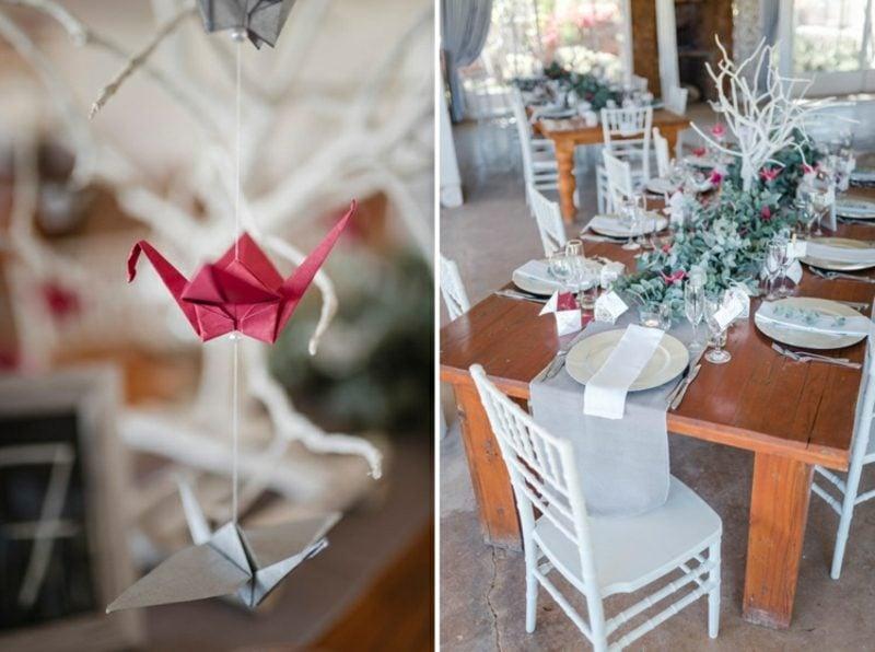 Bastelideen für Erwachsene Vogel falten Tischdeko Hochzeit