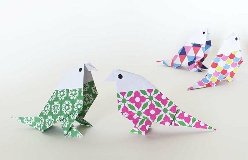 Bastelideen für Erwachsene Vogel Papagei Origami falten