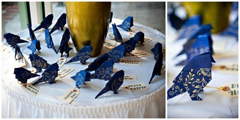 Bastelideen für Erwachsene Vogel Origami dunkelblaues Papier
