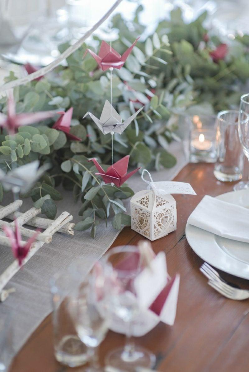 Bastelideen für Erwachsene Vogel Origami Hochzeit Tischdeko