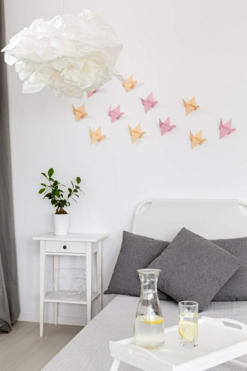 Bastelideen für Erwachsene Vogel Origami Deko Schlafzimmer