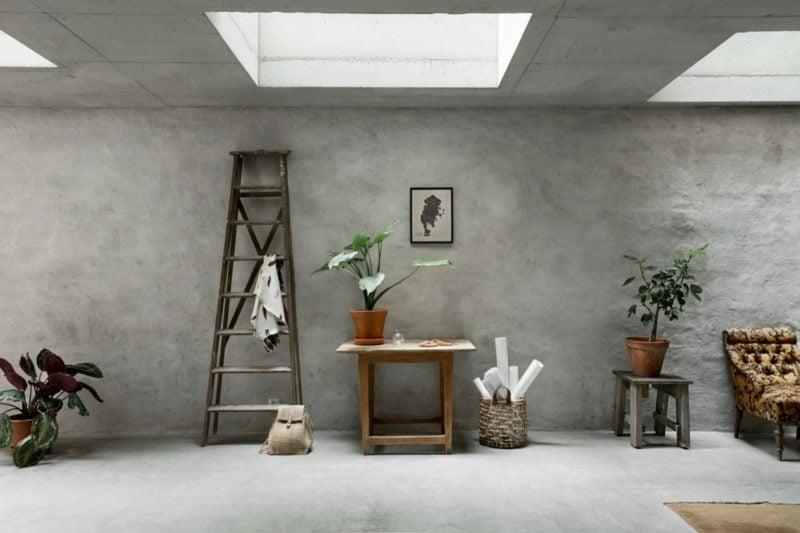 Betonwand Decke skandinavisch Zimmerpflanzen