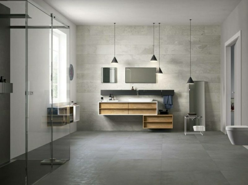 Betonwand stilvoll Badezimmer