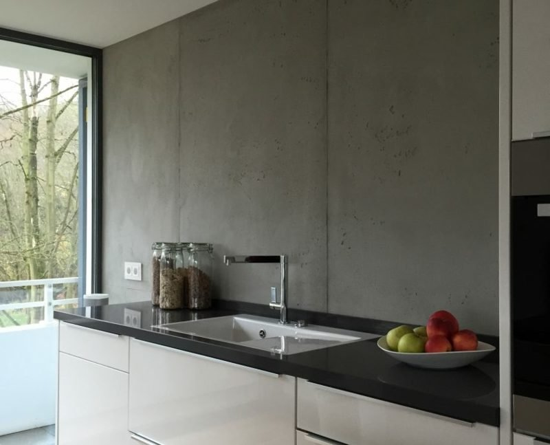 Betonwand Küche Spülbecken