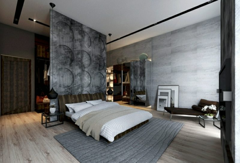Betonwand Schlafzimmer Raumtrenner toller Look