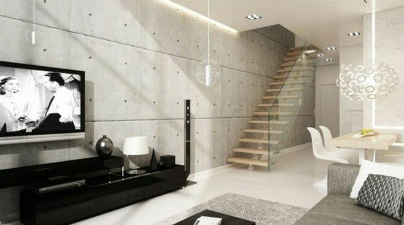 Betonwand Paneele Treppe modern minimalistisch