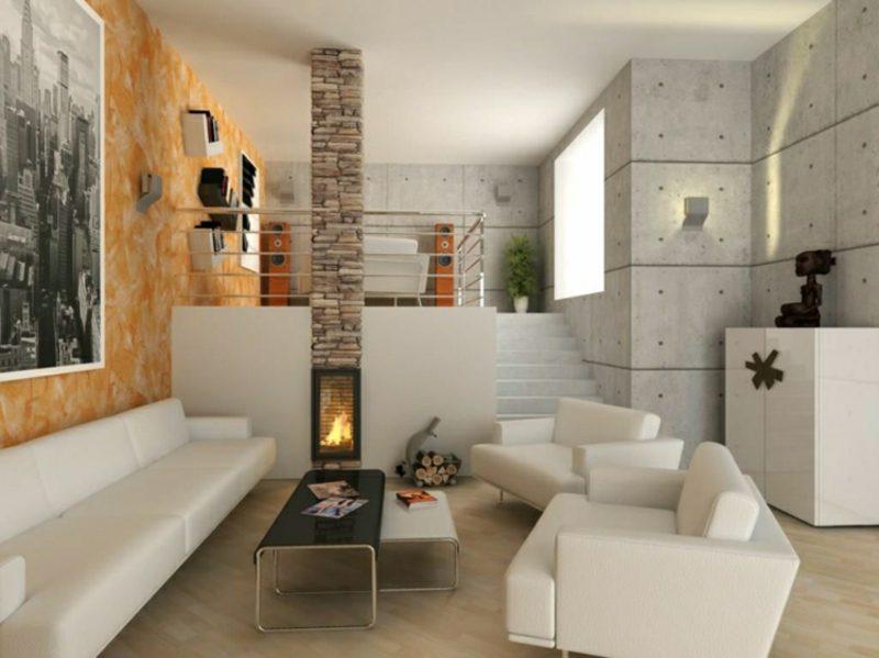 Betonwand Paneele Wohnzimmer klein platzsparende Einrichtung