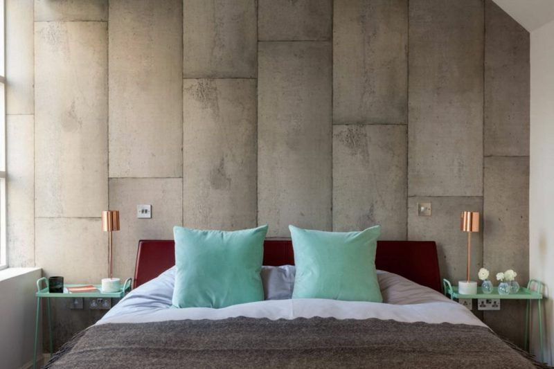 Betonwand Schlafzimmer Fliesen herrlicher Look