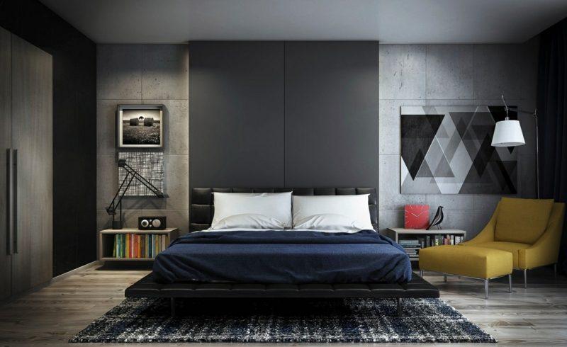Betonwand Schlafzimmer modern bequem