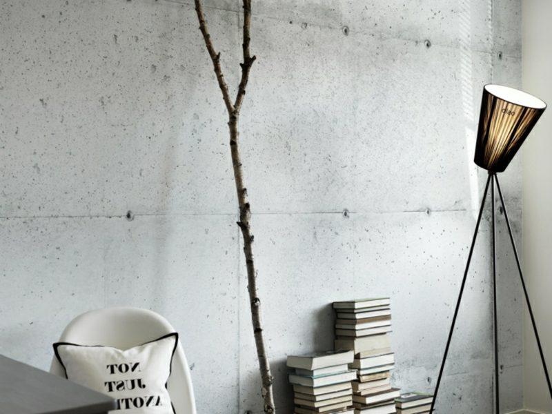 Betonwand Einrichtung modern minimalistisch Stehlampen