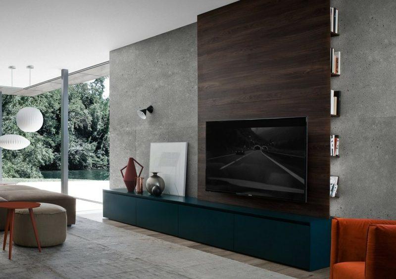 Betonwand Wohnzimmer fernseher