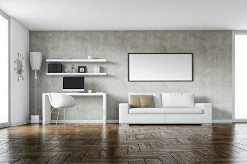Betonwand Homeoffice minimalistischer Stil