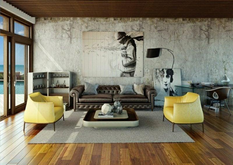Betonwand Wohnzimmer Sessel Ledersofa Holzboden