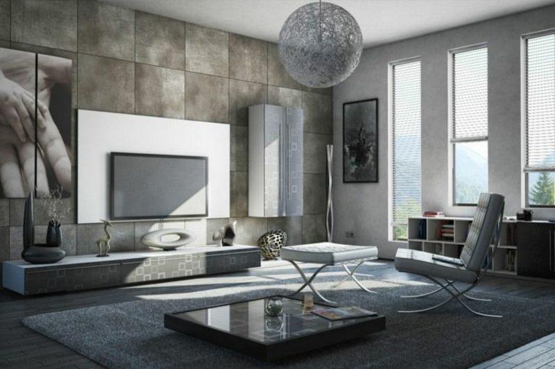 Betonwand Wohnzimmer moderne Einrichtung Akzentwand Fliesen