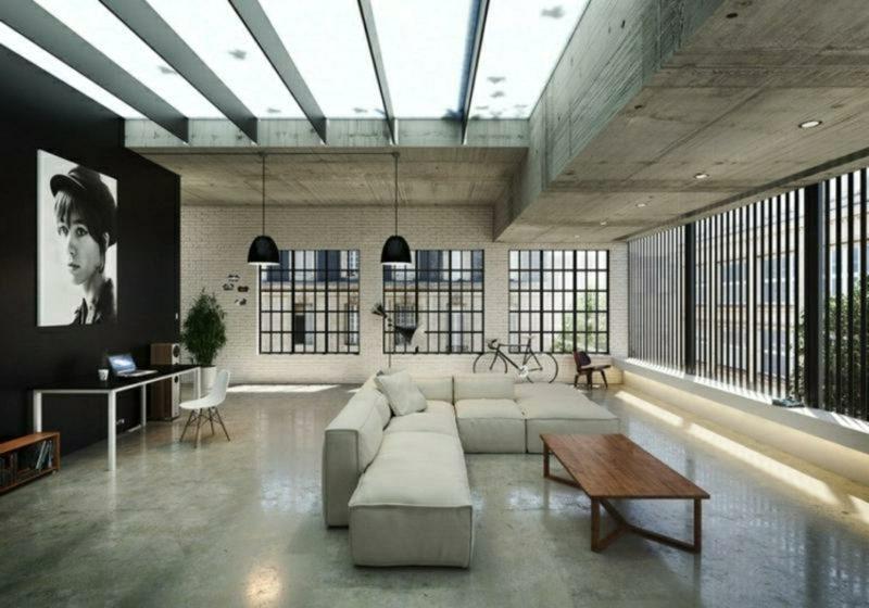 Betonwand Boden Decke Wohnraum gross modern