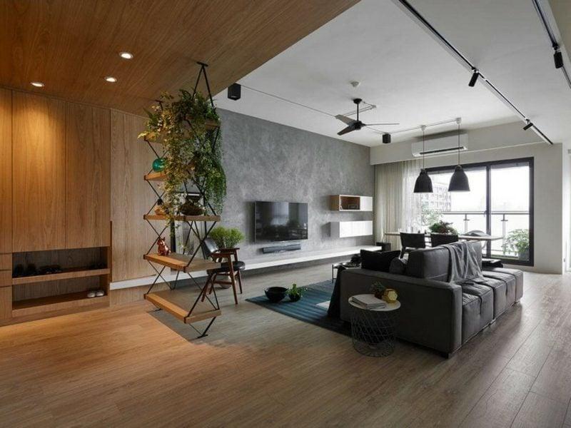Betonwand Wohnzimmer Industrieller Schick