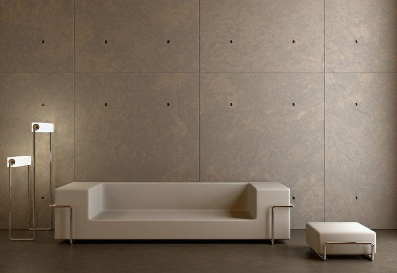 Betonwand Paneele Wohnzimmer minimalistisch super stilvoll