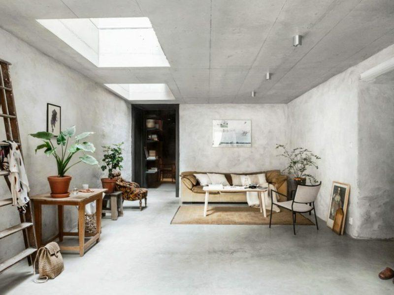 Betonwand Decke stilvolles Ambiente skandinavisch