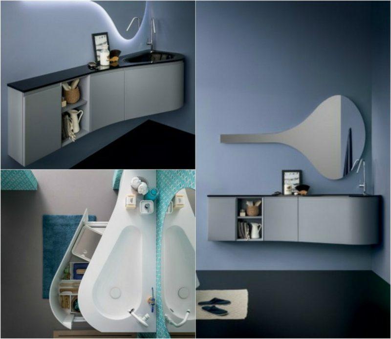 Waschbecken mit Unterschrank originelles Design Spiegel Form ausgefallen