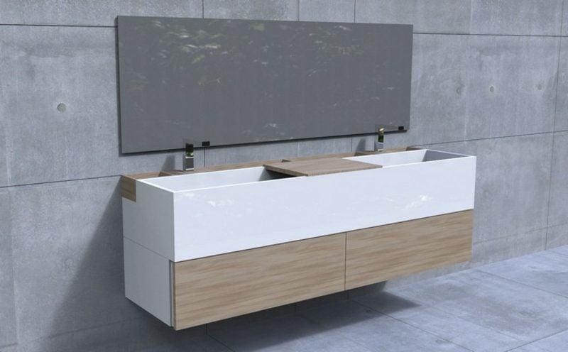 Waschbecken mit Unterschrank Holzfronten modern