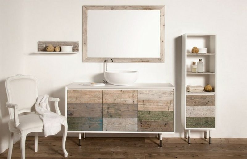 Waschbecken mit Unterschrank Holzfronten Tannenholz herrlicher Look