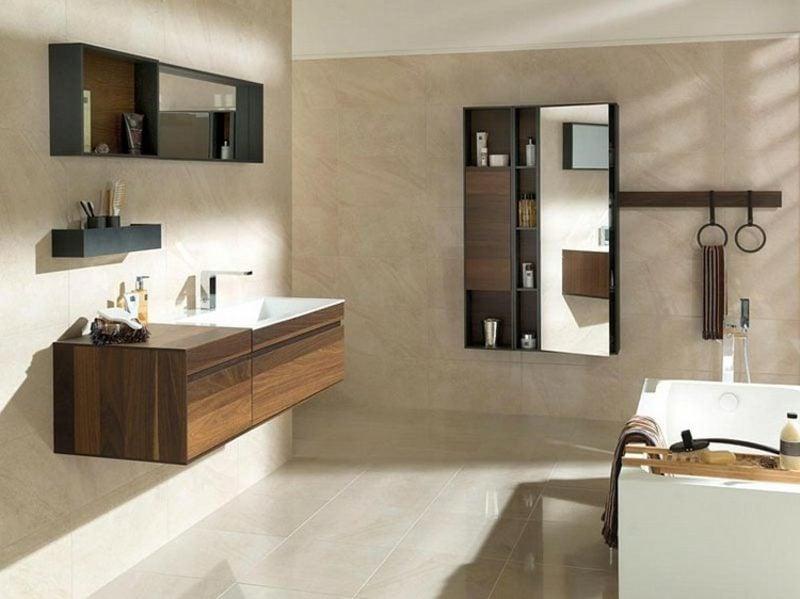 Waschbecken mit Unterschrank schwebend Holz modernes Design
