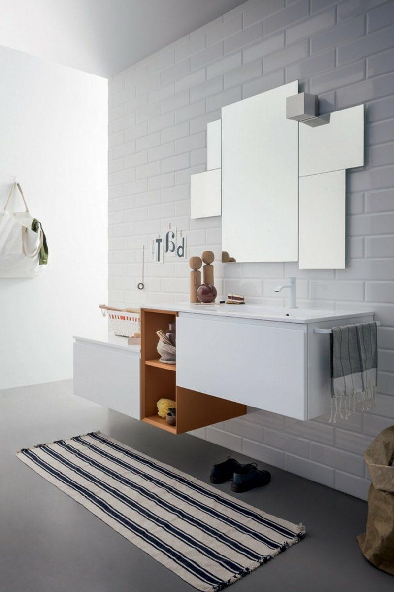 Waschbecken mit Unterschrank Regale asymmetrisch modern
