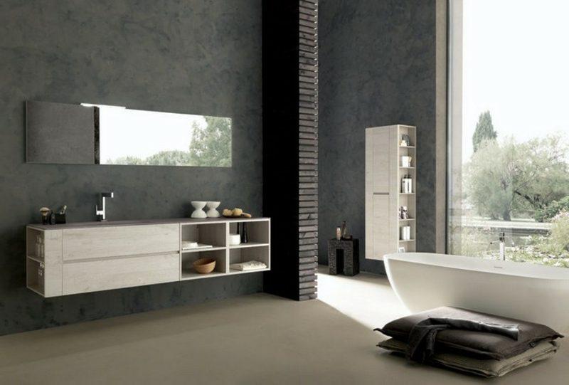 Waschbecken mit Unterschrank Regale Holz schwebend