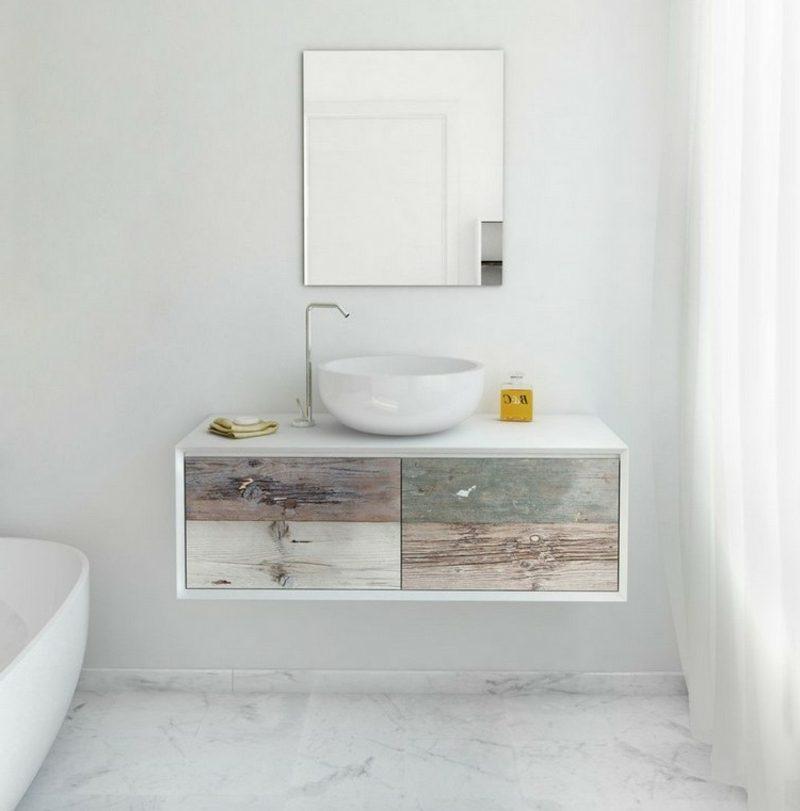Waschbecken mit Unterschrank Holz schwebend herrlicher Look