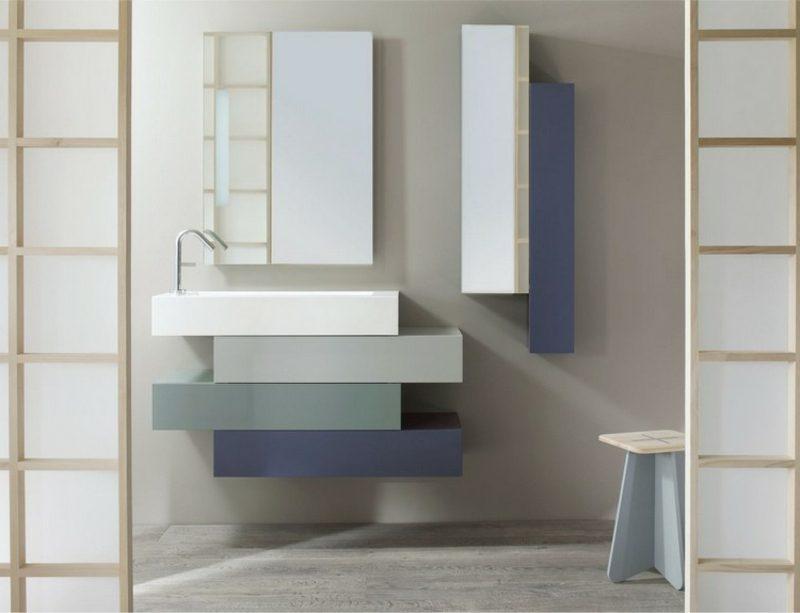 Waschbecken mit Unterschrank stilvoll geometrisch vier Teile