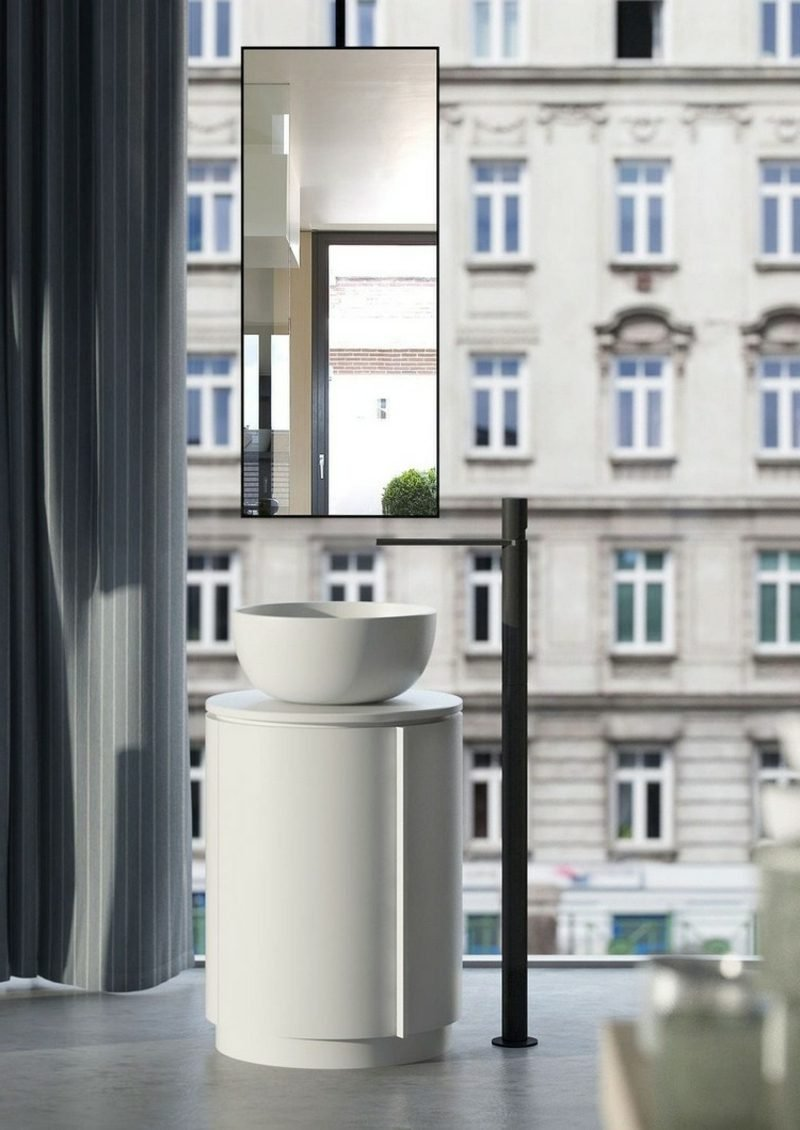 Waschbecken mit Unterschrank minimalistisch freistehend
