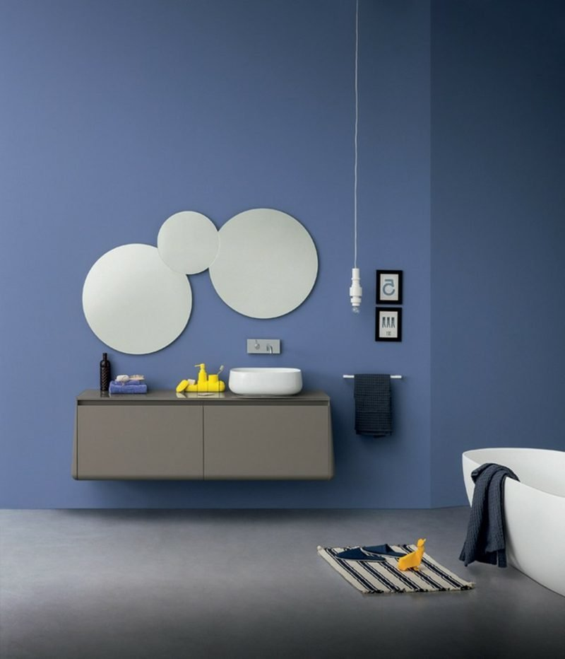 Waschbecken mit Unterschrank in Grau schwebend Spiegel rund