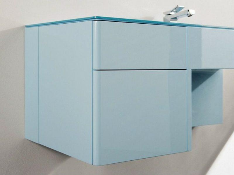 Waschbecken mit Unterschrank hellblau Kunststoff modern