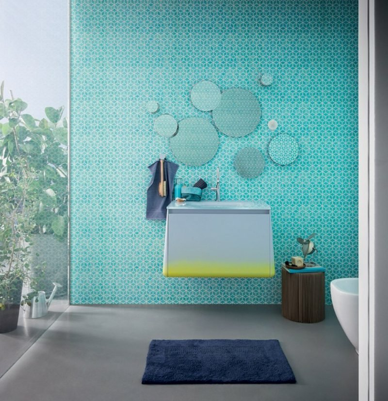 Waschbecken mit Unterschrank klein wandmontiert Spiegel rund