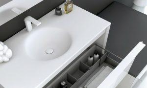 Waschbecken mit Unterschrankweiss elegant Schubladen Abteilungen
