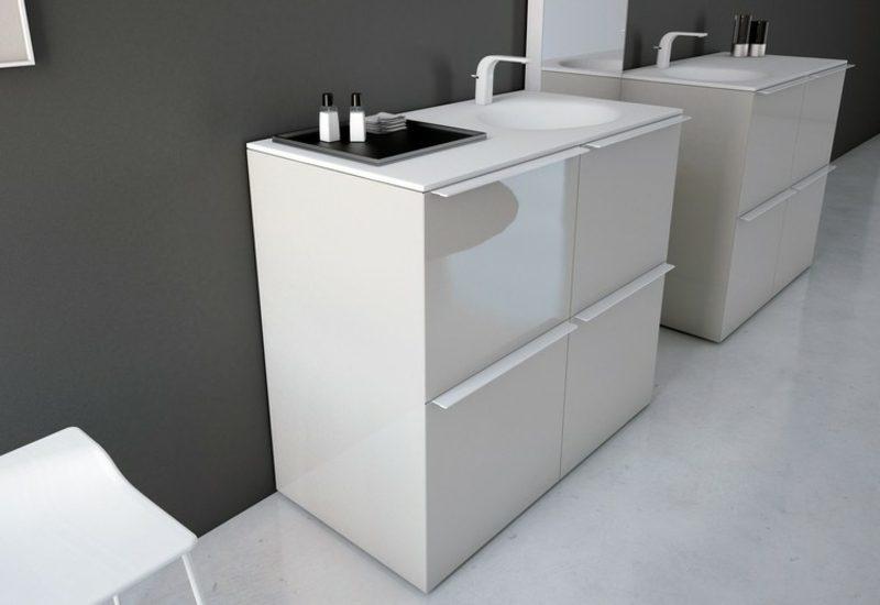Waschbecken mit Unterschrank freistehend hochglanz