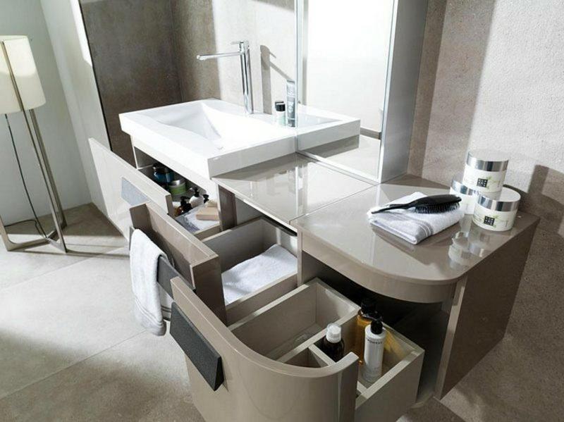 Waschbecken mit Unterschrank Schubladen Kunststoff stilvolles Design