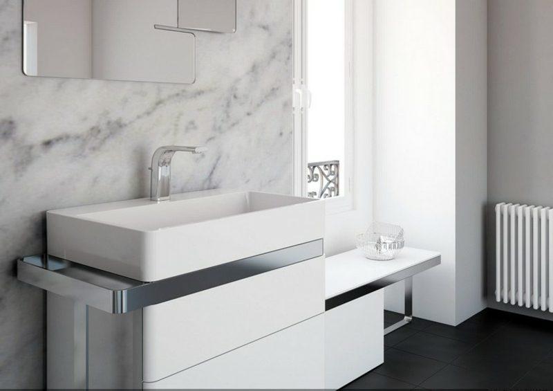 Waschbecken mit Unterschrank weiss elegant Handtuchhalter