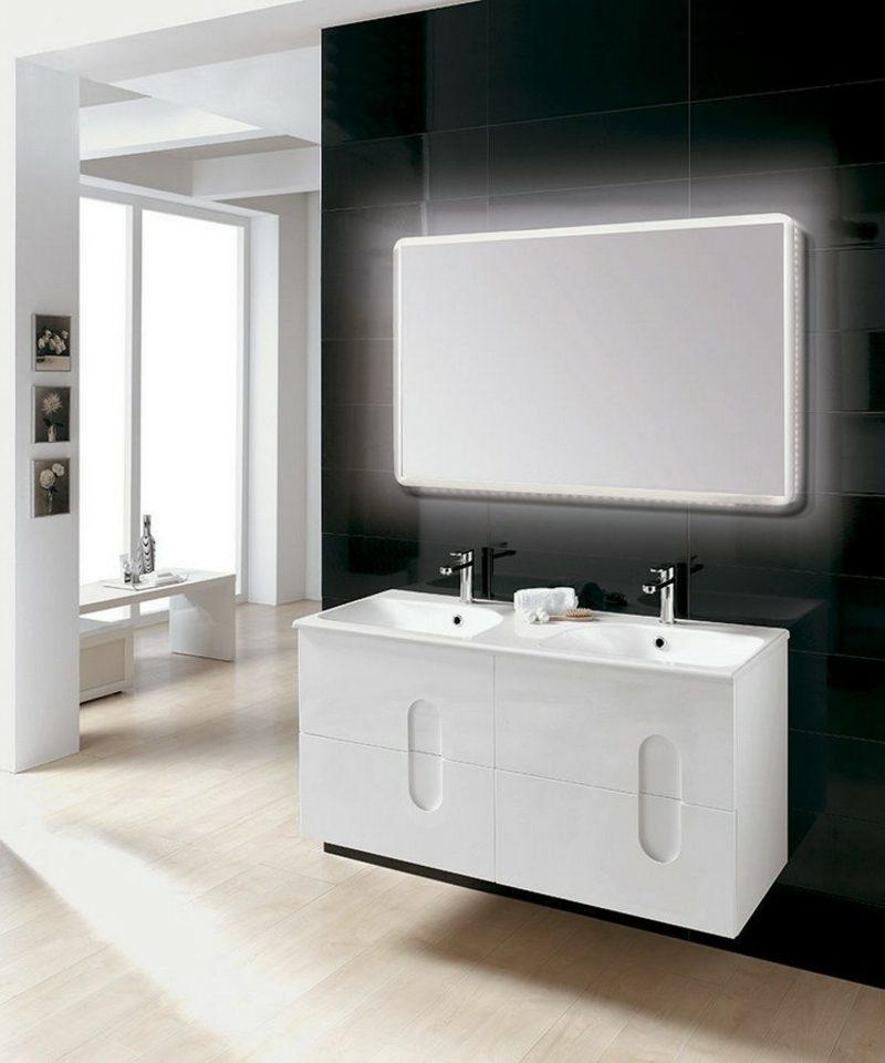 Waschbecken mit Unterschrank zwei Personen weiss hochglanz