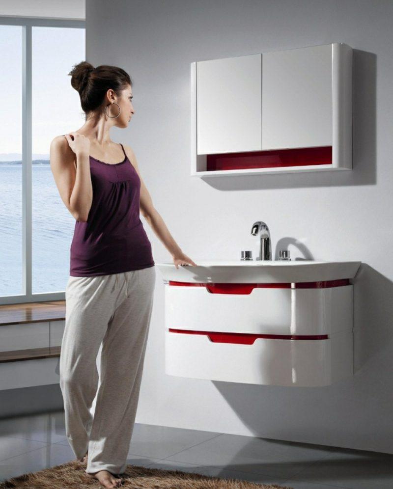 Waschbecken mit Unterschrank rot weiss minimalistisch