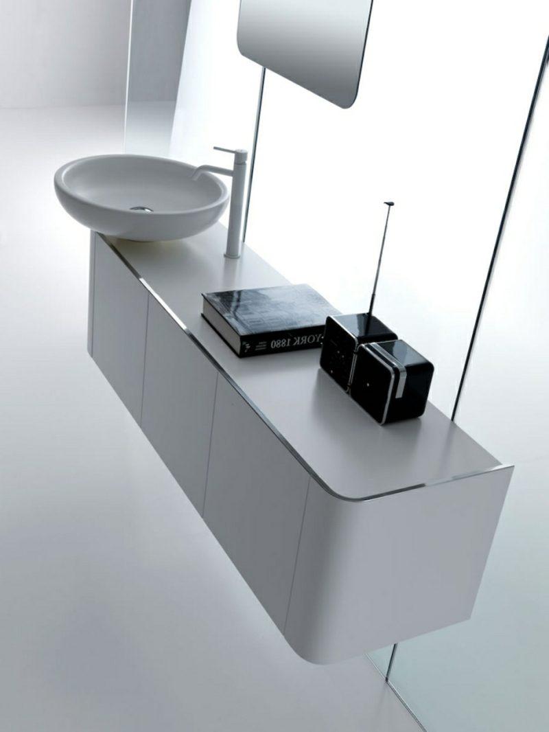 Waschbecken mit Unterschrank in Grau schwebend stilvolles Design