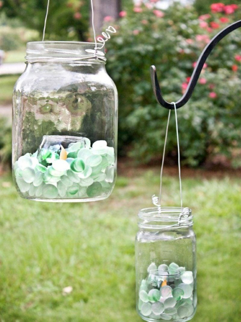 Windlichter basteln für den Garten mit Glaskies
