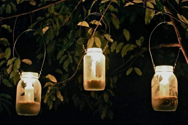 Windlichter basteln hängend Gartenparty