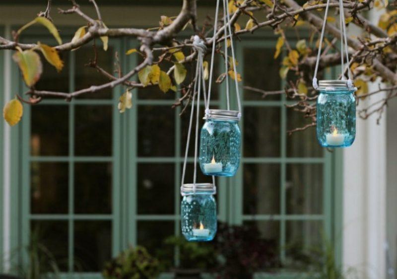 Windlichter basteln Garten Einweggläser