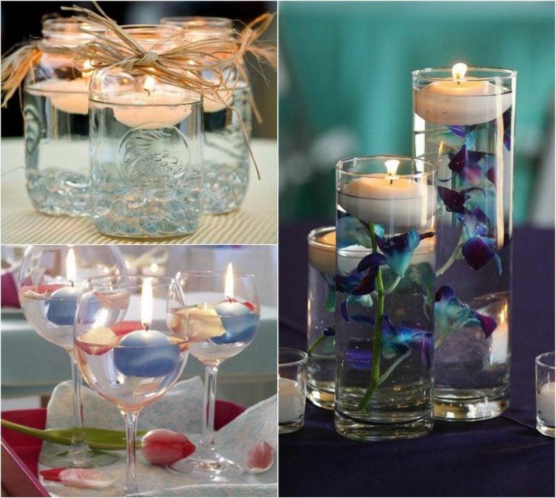 Windlichter basteln schwimmende Kerzen romantisch