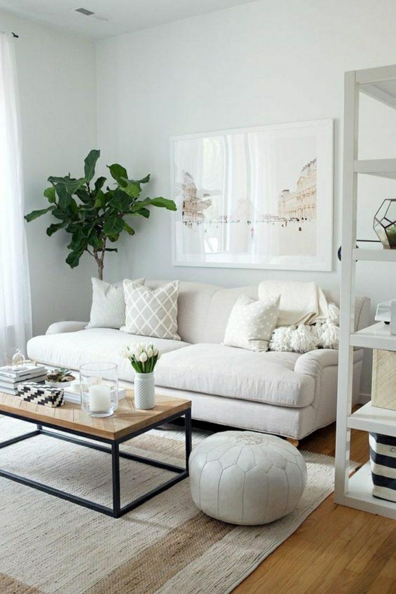 weiβes Wohnzimmer Couchtisch Holz Zimmerpflanze