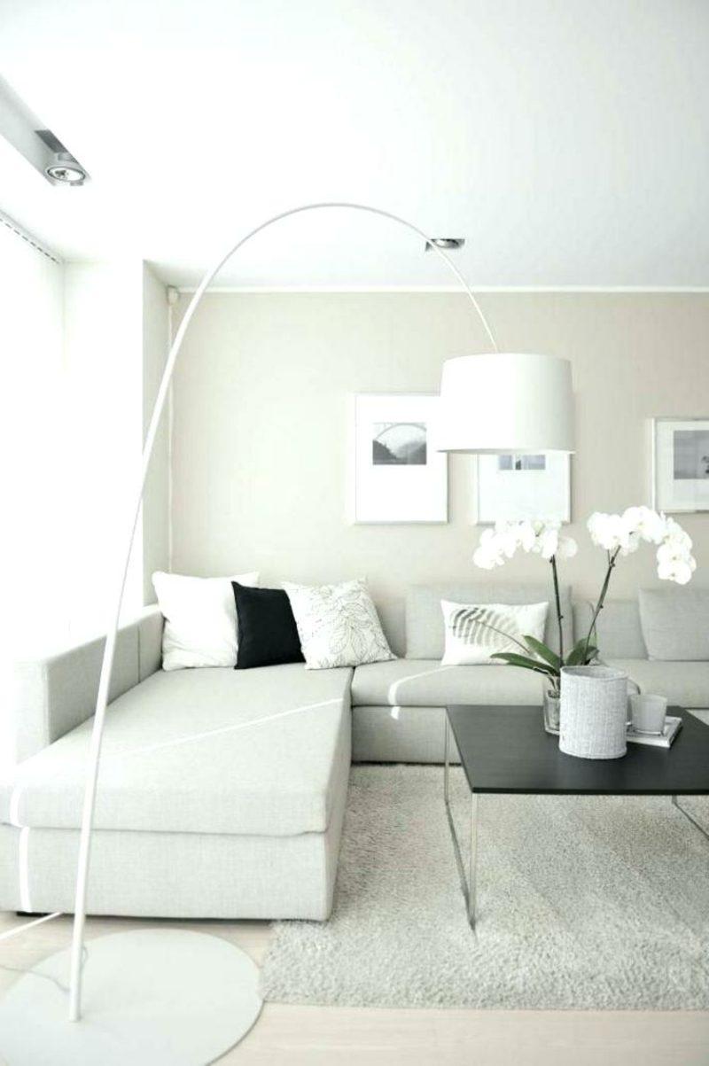 weiβes Wohnzimmer Pflanzen moderne Stehlampe