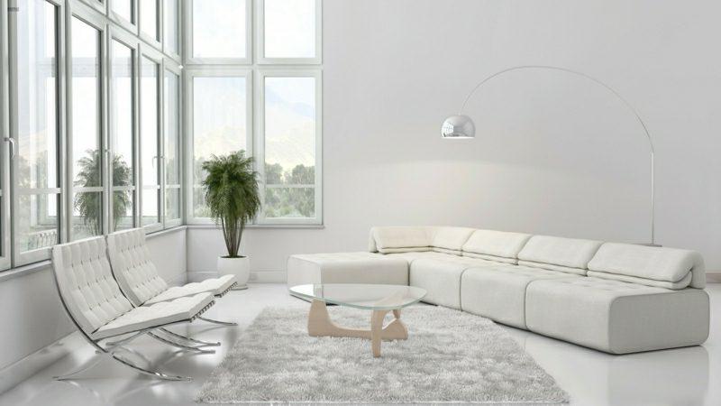 weiβes Wohnzimmer elegant puristisch